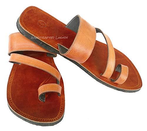 Handcrafted Luxury Sandalias de cuero marrón para hombre sandalias bíblicas doble correa hippie india zapatillas marrón marrón