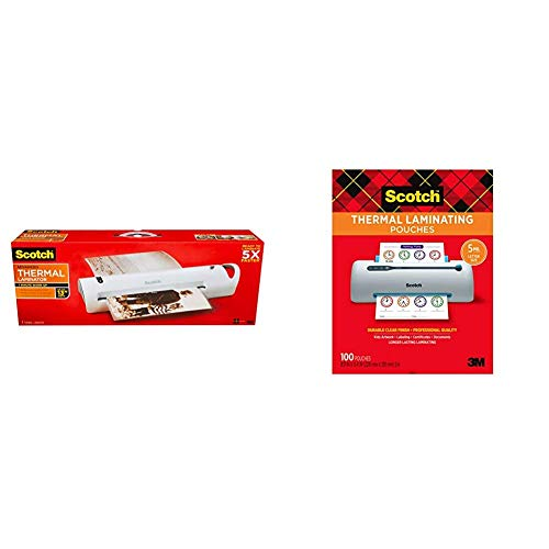 Scotch Advanced Thermal Laminator, Extra Wide 13-Inch Input & Thermal Laminating Pouches, 5 Mil Thick for Extra Protection, 100-Pack, 8.9 x 11.4 inches, Letter Size Sheets, Clear (TP5854-100)