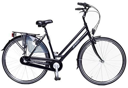 Amigo Bright - Bicicleta de Cuidad de 28 Pulgadas para Mujeres - Adecuada para Alguien a Partir de 175-180cm - Engrenaje Shimano Nexus con 3 velocidades - con V-Brakes, iluminación y estándar - Negro