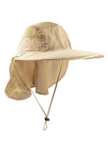 WANYING Unisex UV Schutz Sonnenhut mit Nackenschutz 12cm Großer Brim Outdoor Aktivitäten - für Kopfumfang 56-62cm Hellkhaki