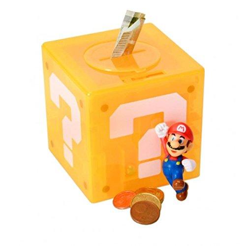 trendaffe Super Mario Fragezeichenblock Labyrinth Spardose mit Figur - Super Mario Fragezeichen Labyrinth Sparbüchse Sparschwein