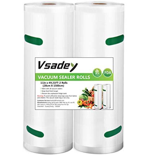 Vakuumrollen, 2 Rollen 28cm x 15m Profi-Folienrollen Vakuumierbeutel für alle Vakuumierer, Mikrowellen geeignet and Sous-Vide - Wiederverwendbar, BPA-Frei und FDA-Approved