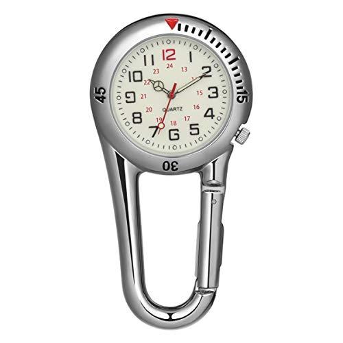 NICERIO Karabiner Uhr - leichte Clip-on-Uhrkette Nachtlicht Gurtuhr für Klettern Krankenschwestern Ärzte Bergsteigen - Silber
