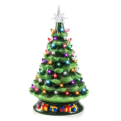 15' Tabletop Prelit Ceramic Christmas Tree with 70 Multicolor Bulbs, Christmas Decorations