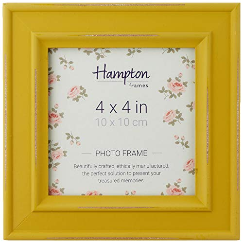 Hampton Frames Paloma-Marco de Fotos Cuadrado, Madera, Amarillo, 4x4 (10x10cm)