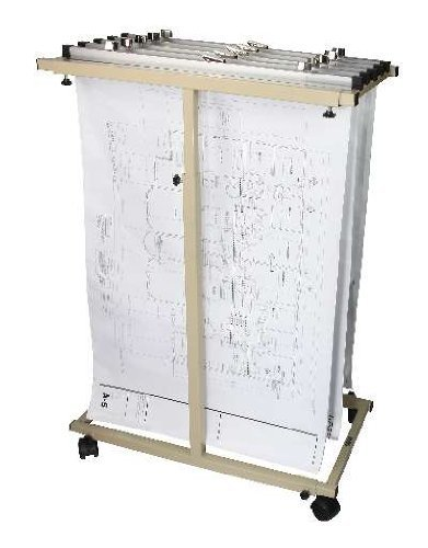 """Adir Corp. Mobile Vertical Plan Center for Blueprints - Plans, Sand Beige with 12 36"""" File Hanging Clamps"""