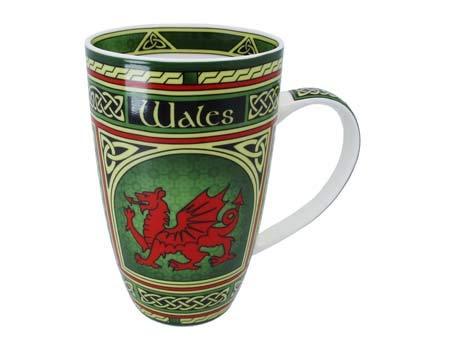Royal Tara Walisischer Drache Cymru Keramikbecher Keramik Becher | Welsh Tasse aus New Bone China | 325 ml Porzellantasse