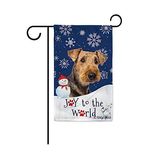VVGETE Bandera De La Casa Happy Winter Holiday Snow with My Love Dog Airedale Joy To The World Snowfalke Paws Muñeco De Nieve Impresión A Doble Cara 30X45Cm Decoración para El Hogar Band