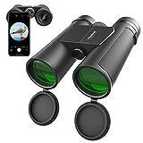 Usogood Prismáticos 12x42 para Adultos con Visión Clara con luz Débil - Prismáticos para Observar Aves, Senderismo, Viajes - Ocular Grande y Lente de Prisma BAK4 de 16,5 mm