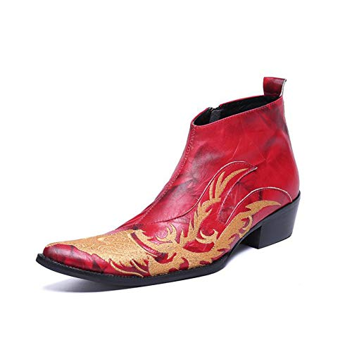 2019 Botas De Cuero Rojo para Hombre Zapatos Oxford De Tacón Alto...