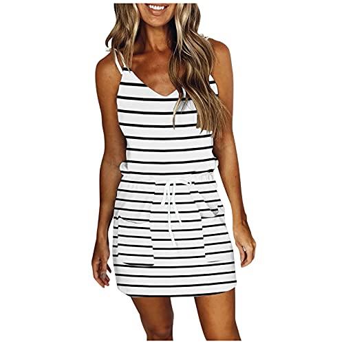 AQ89 Vestido de verano para mujer con correa de espagueti con cuello en V sin mangas vestido de espalda abierta, espagueti, S, Blanco