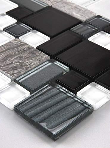 1 malla de vidrio de mármol baldosas de mosaico de vidrio mosaico mosaico Negro Gris Blanco