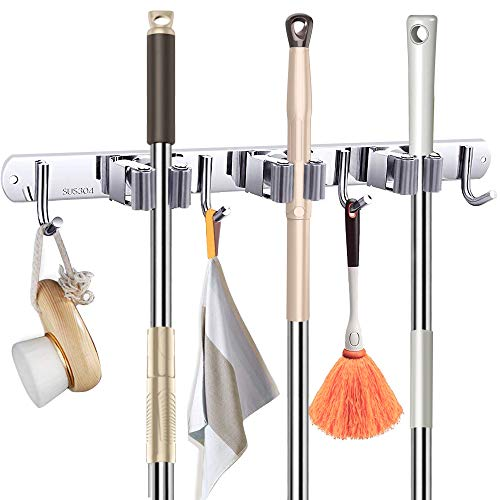 Broom Mop Holder Wall Mount Metal Stainless Steel Wall Mounted Storage Organizer Heavy Duty Tools Hanger with 3 Racks 4 Hooks for for Bathroom Kitchen Office Closet Garden
