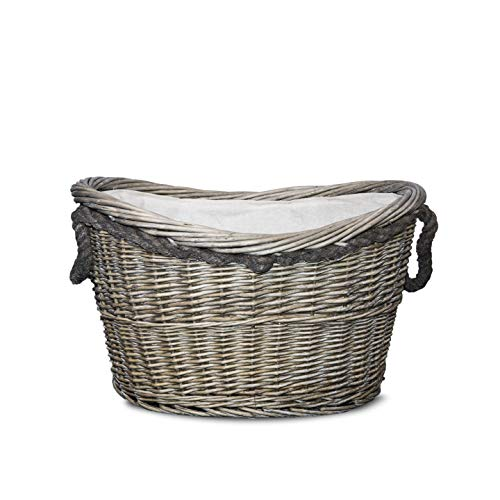 Vintage Style Rope Handle Antique Washed Wicker Fireside Heavy Duty Log Basket
