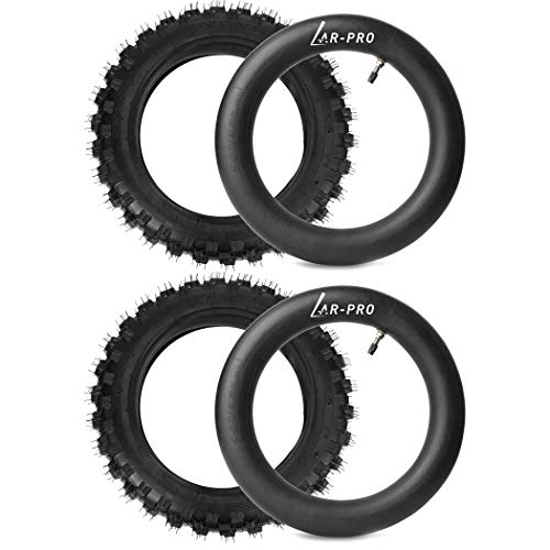 "(2 Set) 2.5-10"" Off-Road Tire and Inner Tube Set - Dirt Bike Tire with 10-Inch Rim and 2.5/2.75-10 Dirt Bike Inner Tube Replacement Compatible with Honda CRF50/XR50, Suzuki DRZ70/JR50, and Yamaha PW50"