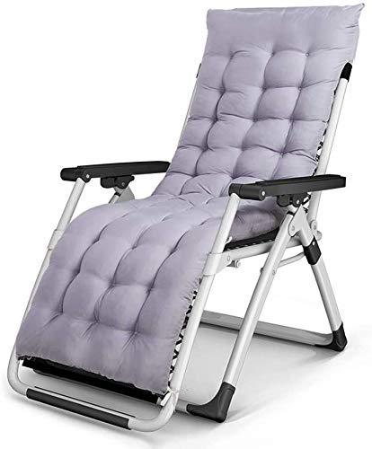 Sillas plegables reclinables silla almuerzo de oficina salto de sol de terraza en el jardín sillón silla con esterilla gruesa extraíble,Grey