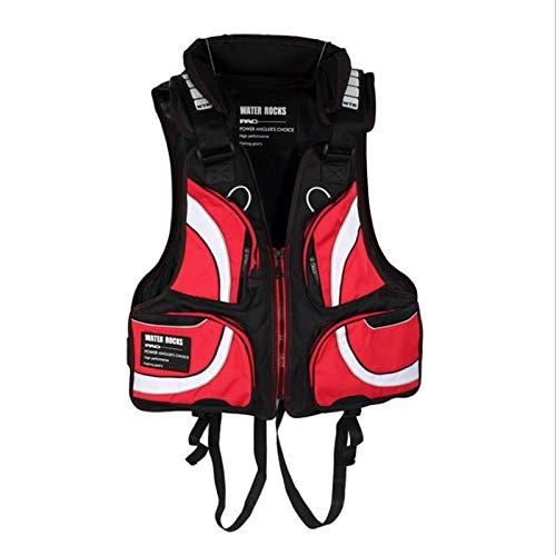 WANGT Adultos con Chaleco Salvavidas, Kayak Chaleco Salvavidas Unisex Flotabilidad Chaqueta de Ayuda a La Natación para Pesca Natación Vela Deportes,Red-100-200kg