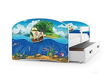 Interbeds Cama Individual LUKI - Blanco,160X80, con cajón, somier y colchón de Espuma Gratis! (Piratas)