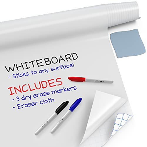 """Kassa Large Whiteboard Wall Sticker Roll - 17.3' x 96"""" (8 Feet) - 3 Dry Erase Board Markers Included - Adhesive White Board Wallpaper for Fridge, Office & Kids Room - Peel and Stick Paper Decal"""