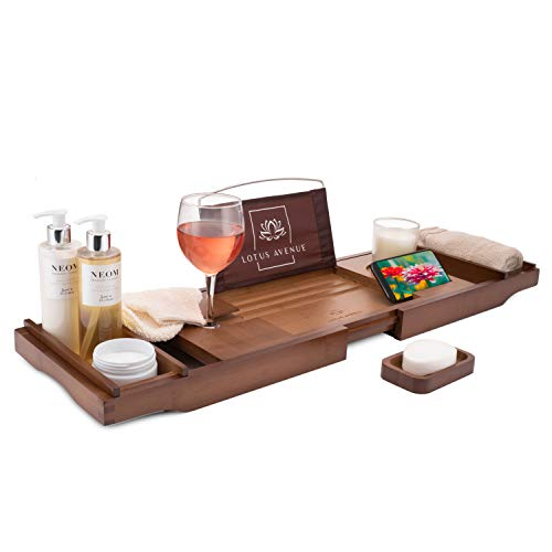 Lotus Avenue Bath Tray Caddy - Bamboo Wood Bath Tray - Bath Caddy with Wine Holder - Wooden Bath Board with Book, Ipad, Candles, Phone Accessories - Extendable Bath Table for Bath Spa experience