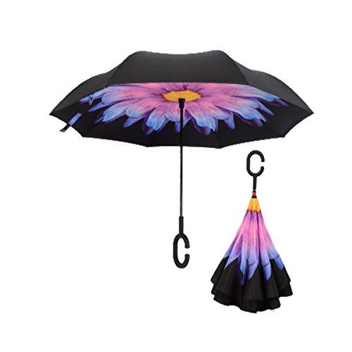 RAIN QUEEN Regenschirm Schirm Double Layer Frei H?nde c-f?rmigen Griff R¨¹ckseite Outdoor UV-Schutz umkehren Auto Regenschirm windundurchl?ssiger 105cm (Violet)