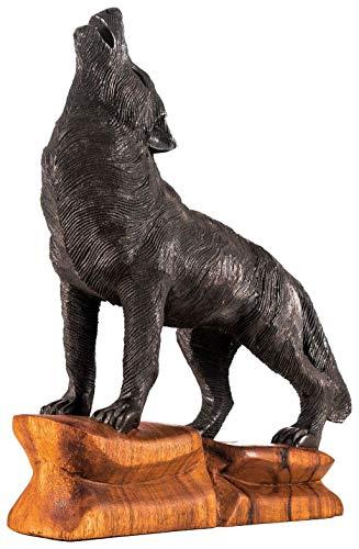 Windalf Handarbeit Vikings Schwarze Holzfigur DASAN 39 cm Großer schwarzer Odins Wolf Nordische Mythologie Holz