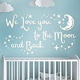 Adhesivo decorativo para pared con texto en inglés «We love you to the moon and back»