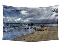 壁のタペストリー 風景タペストリー - 海のビーチの岩雲嵐の夕暮れ - 装飾壁掛けタペストリー 間仕切り おしゃれ インテリア 寝室 カーテン 部屋飾り 新築お祝い 結婚お祝い プレゼント 横230cm×縦150cm