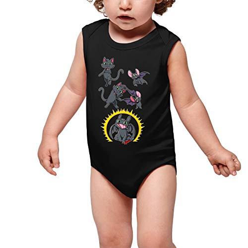 OKIWOKI Grappige Cómo entrenar a tu dragón Zwarte Mouwloze Baby Bodysuit - Toothless De Draak (Cómo entrenar a tu dragón Parody) (Ref:1044)
