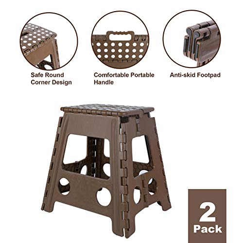 TOLEAD 2 Pack Folding Step Stool for Adults, Plastic Foot Stool for Seniors, Foldable Stepping Stool, Holds up to 400lbs (15.4 inches Height)