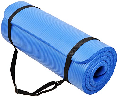 BalanceFrom GoCloud All-Purpose 1-Inch Extra Thick High Density Anti-Tear Exercise Yoga Mat with Carrying Strap (Blue)