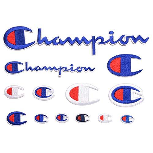 Juego de 13 parches termoadhesivos de campeón con logo deportivo bordado, para decoración de chaquetas, vaqueros, zapatos, mochilas, camisetas, varios tamaños