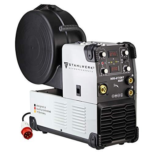STAHLWERK MIG 270 ST IGBT - MIG MAG Machine à souder au gaz inerte avec 270 A, fil fourré FLUX, avec soudage MMA,Entraînement à 4 rouleaux, garantie de 7 ans