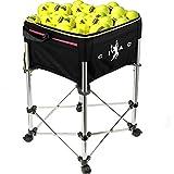 Ukiki Chariot Pédagogique Bacs à Balles de Tennis de Capacité 160 Sac Balle de Baseball Tennis Chariot de Balle de Tennis sur Roues Chariot à Balles Ball Hopper Panier à Balles Oxford (Noir)