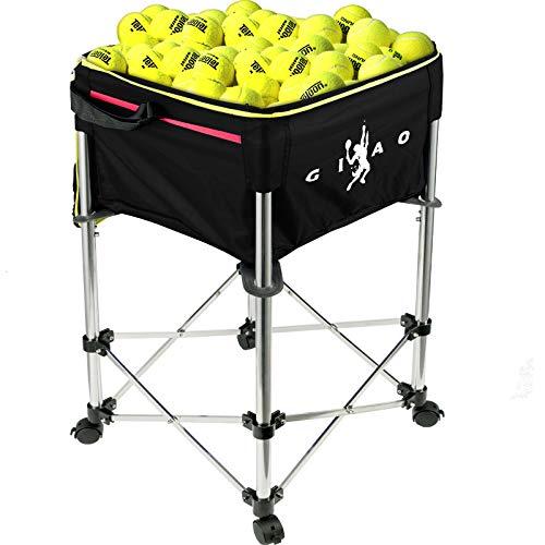 AnComo Carrello Tennis capacità 160 Palline 20kg Carrello per Palline Carrello per Palline da Tennis Cestino per Palline con Ruote con Borsa Nera