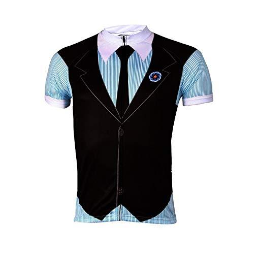 TMY Caballero Estilo Ciclismo Jersey los Hombres del Verano Ropa de Ciclo Ropa Ciclismo Maillot Ciclismo Define Gel Pad (Color : Black, tamaño : M)
