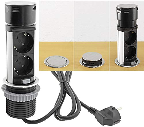 Enchufe empotrable retráctil con 2 enchufes, 2 enchufes, 2 USB, acero inoxidable, redondo, cargador para escritorio, superficie de trabajo, 230 V, con cable de conexión de 150 cm