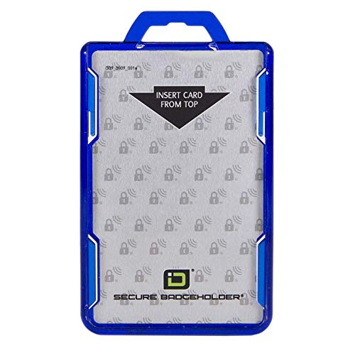 ID Stronghold - RFID Blocking Secure Badge Holder - Duolite 2 Card ID Holder - Poly Carbonate - Heavy Duty Hard Plastic ID Badge Holder - USA Molded and Assembled - FIPS 201 Approved - Blue