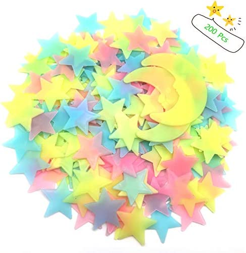 200 Pcs Colorful Glow in The Dark Luminous Stars and Moon Fluorescent Plastic Wall Stickers product image