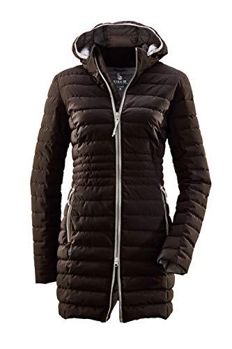 G.I.G.A. DX Bacarya damski płaszcz pikowany – parka funkcyjna z kapturem – długa kurtka pikowana – płaszcz przejściowy o wyglądzie puchu czarny 46