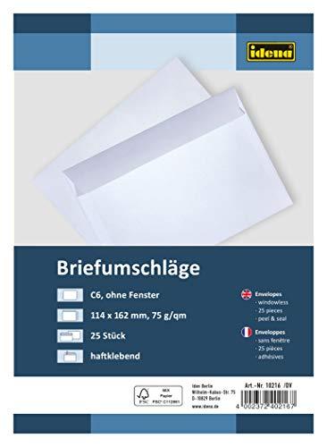 Idena 10216 - Briefumschläge DIN C6, 75 g/m², haftklebend, ohne Fenster, FSC-Mix, weiß, 25 Stück