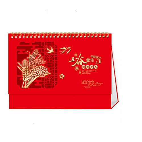 Chinesische 365 Tage Kalender 2021 Kalender Schreibtisch für das Mondjahr des Ochsen,24.5x8x17.5cm,Chinesisches Papierschnitt-Reismuster 2021 Tageskalender für 2021 Chinese New Year Office Home Suppl