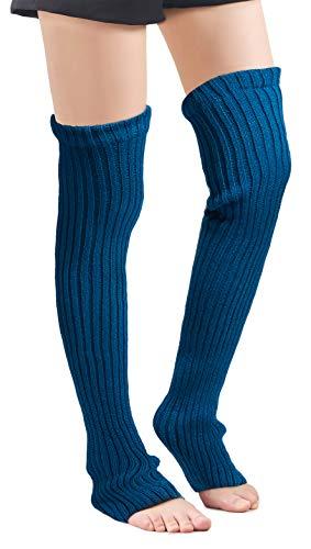Leotruny Women's Winter Over Knee High Footless Socks Knit Leg Warmers (Peacock...