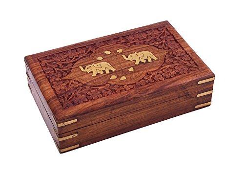STORE INDYA Regal Hand Crafted Elephant Schmuckaufbewahrung Organizer Box Mit Elephant Inlay