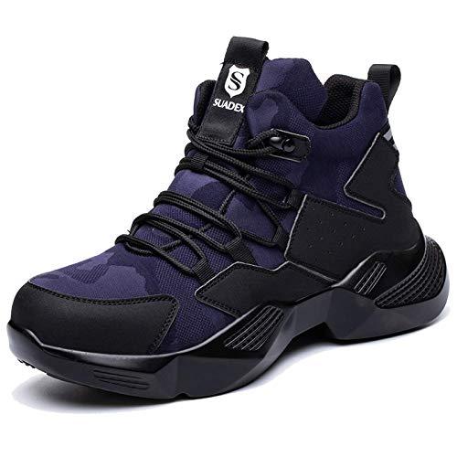 SUADEX Zapatos de seguridad para hombre y mujer, ligeros, deportivos, transpirables, con puntera de acero, 40-48 EU, color Azul, talla 44 EU
