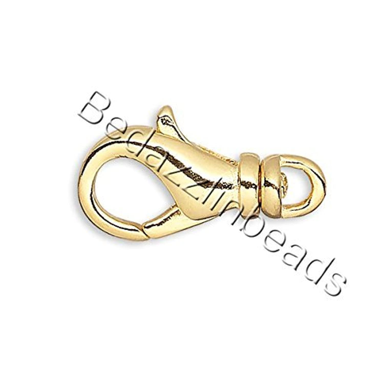 10 Plated 14mm Long Lobster Claw Trigger Clasps With Swivel for Jewelry (Gold)