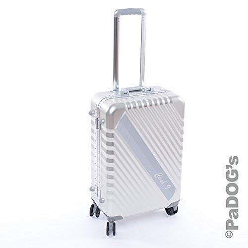 Cool-9 Aluminium-Reisekoffer Silber M, 59 Liter Volumen, mit TSA Zahlenschloß, 4 Leichtlaufdoppelrollen, Verzurrgurte auf jeder Seite, Teleskopgriff, edles Design aus Aluminium