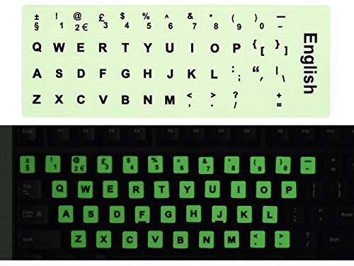 [2Pack] Universal Englisch Tastatur Aufkleber, Schwarz Hintergrund mit Weiß Schriftzug Tastatur Aufkleber für Computer Laptop Notebook Desktop-Tastaturen English-Glow