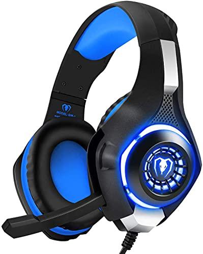 BlueFire Cascos Gaming PS4, Auriculares Gaming con Micrófono Headset Mac Estéreo Juego Gaming Jack 3,5mm LED Bajo Ruido Compatible con PC/Xbox One/Móvil/etc (Azul)