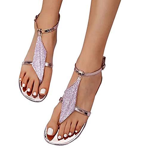 ZRSH Women Sandals Rhinestone Summer Flat T Strap Back strap Sandals Bohemian Thong Casual Hasp Beach Shoes,005,41EU